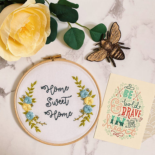 Home Sweet Home Floral Cluster Embroidery Hoop