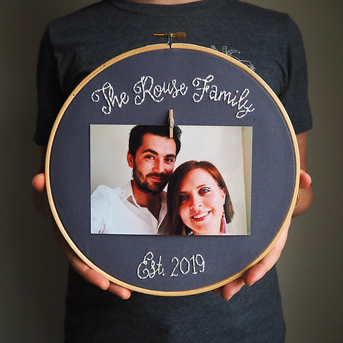Family Name Photo Embroidery Hoop