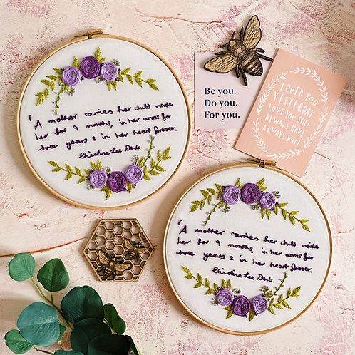 Personalised Handwriting Floral Cluster Embroidery Hoop