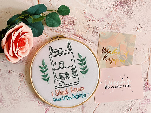 Personalised House Outline Embroidery Hoop