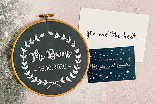 Family Wreath Embroidery Hoop