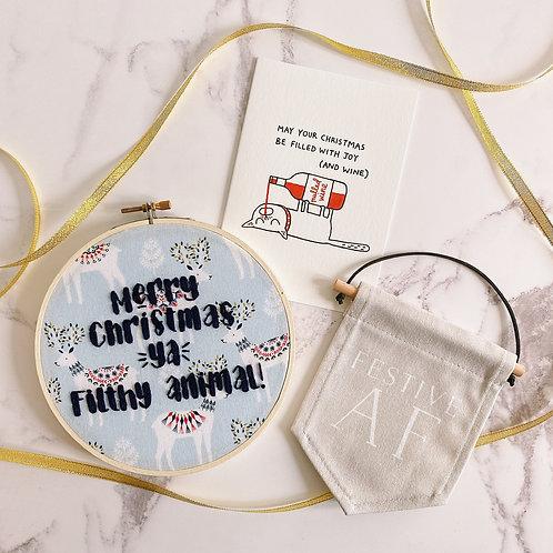 Merry Christmas Ya Filthy Animal Embroidery Hoop