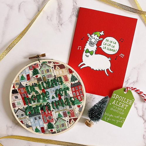 Driving Home For Christmas Embroidery Hoop