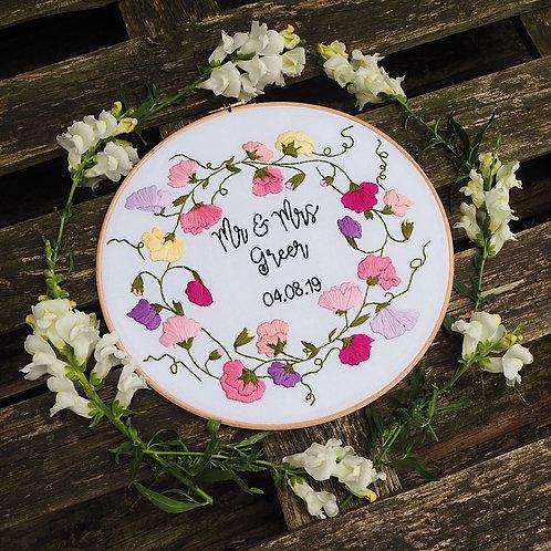 Mr & Mrs Sweet Pea Wreath Embroidery Hoop