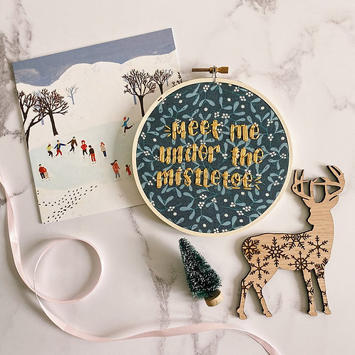 Meet Me Under The Mistletoe Embroidery Hoop
