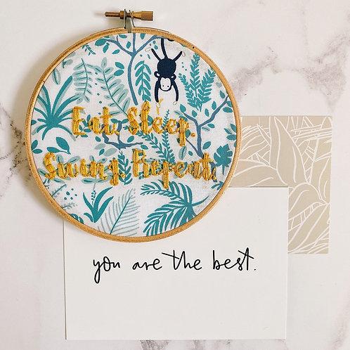 Eat, Sleep, Swing, Repeat Embroidery Hoop