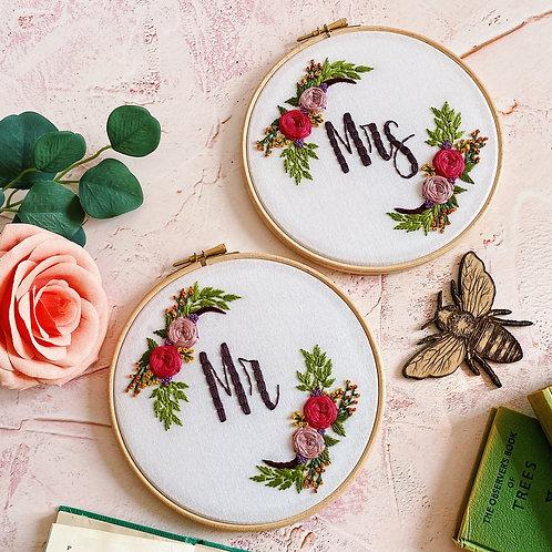 Mr & Mrs Embroidery Hoop Set
