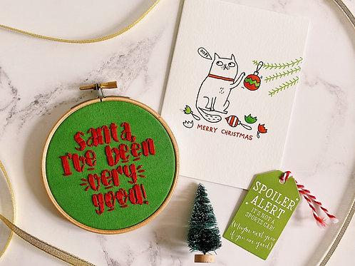 Santa I've Been Very Good Embroidery Hoop