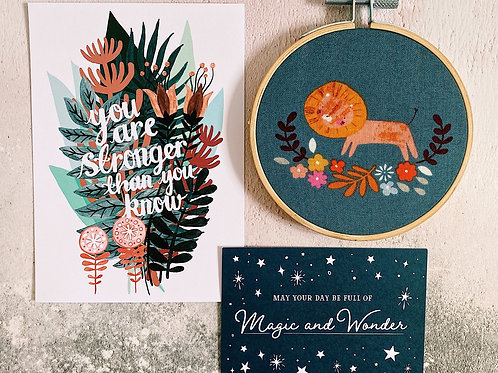 Floral Lion Embroidery Hoop