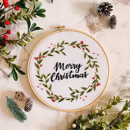 Merry Christmas Holly Wreath Embroidery Hoop