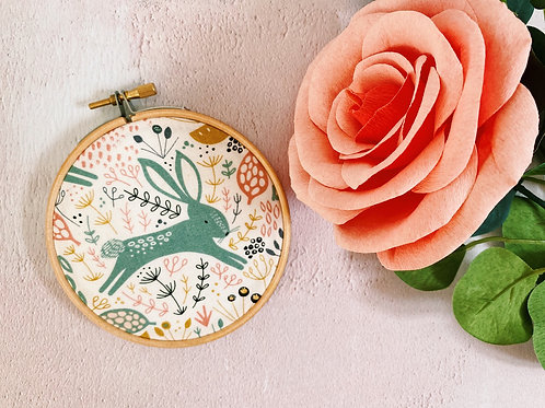 Wild Floral Bunny Embroidery Hoop