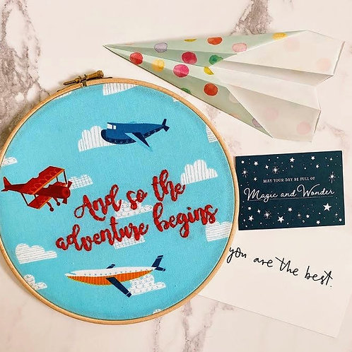 And So The Adventure Begins Embroidery Hoop