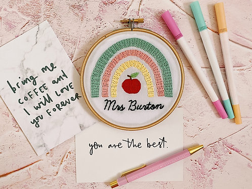 Personalised Teacher Rainbow Embroidery Hoop