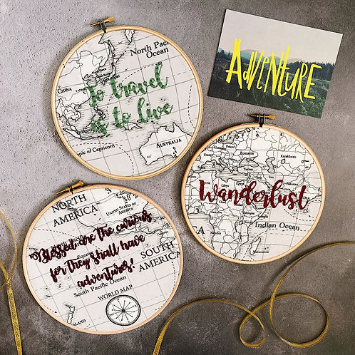 Personalised Map Embroidery Hoop