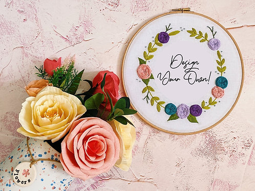 Design Your Own Floral Wreath Embroidery Hoop