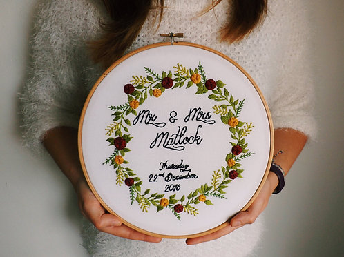 Mr & Mrs Intricate Floral Wreath Embroidery Hoop