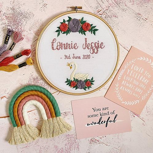 Personalised Floral Swan Embroidery Hoop
