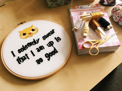 I Solemnly Swear That I Am Up To No Good Embroidery Hoop