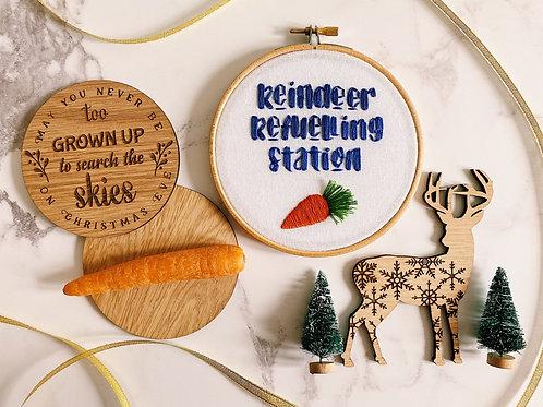 Reindeer Refuelling Station Embroidery Hoop