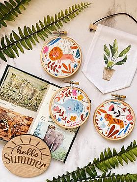 Sunny Safari Mini Embroidery Hoops