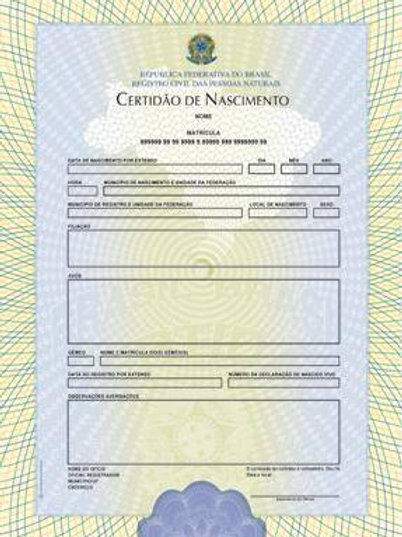 Certidão Nascimento - Brasil