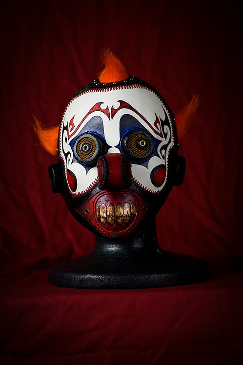 Leather clown full face mask.