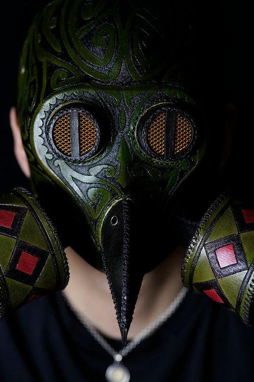 "Leather half mask""Owl"""