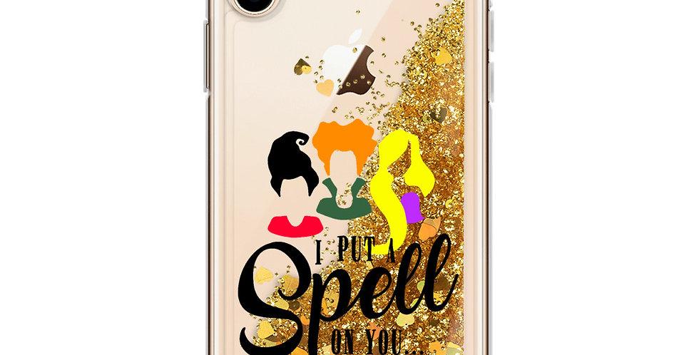 I Put A Spell On You Halloween Liquid Glitter Phone Case