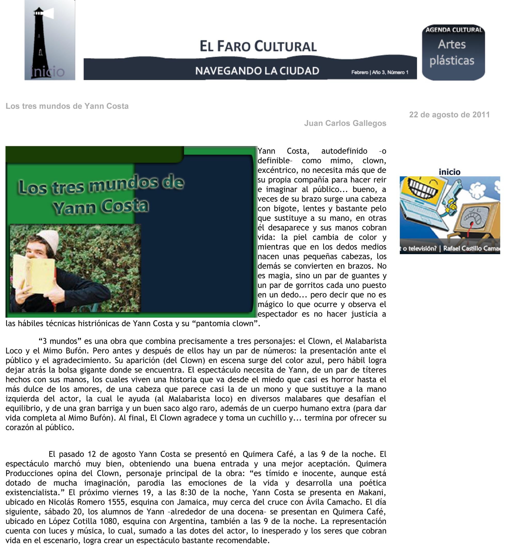 Revista web El Faro Cultural