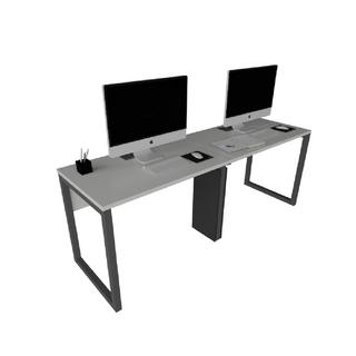 Plataforma Simples de 2 Lugares com Caixa de Tomada, Subida de Fiação, Leito e Pé Looping de 40 x 40 mm