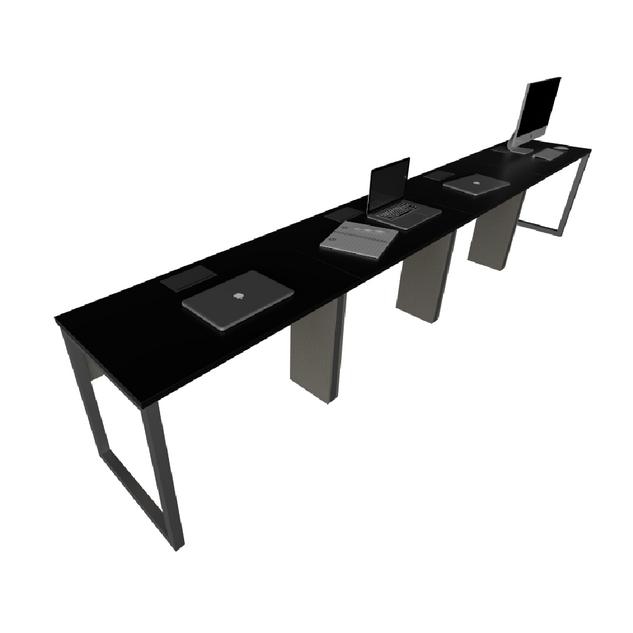 Plataforma Simples de 4 Lugares com Caixa de Tomada, Subida de Fiação, Leito e Pé Looping de 40 x 40 mm
