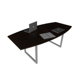 Mesa de Reunião com Tampo Bote e Pé Looping de 40 x 40 mm