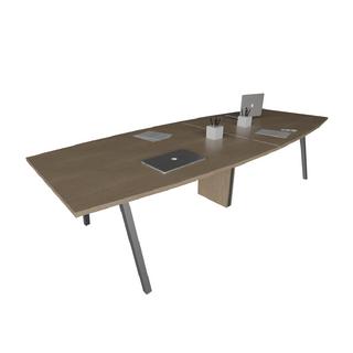 Mesa de Reunião, com tampo bote e pé cavalete de 40 x 40 mm