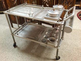 Highlight - Vintage 1940's Hand Forged Aluminum Serving Cart Designed by Russel Wright