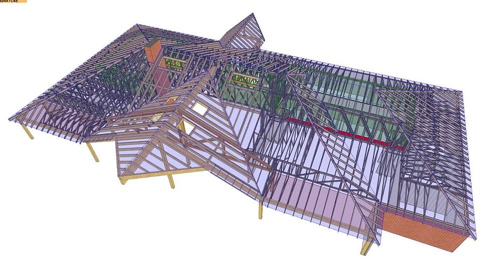 Szeglemezes tetőszerkezet elkészült 3D-s terve