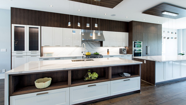 Transitional Kitchen with Two Islands