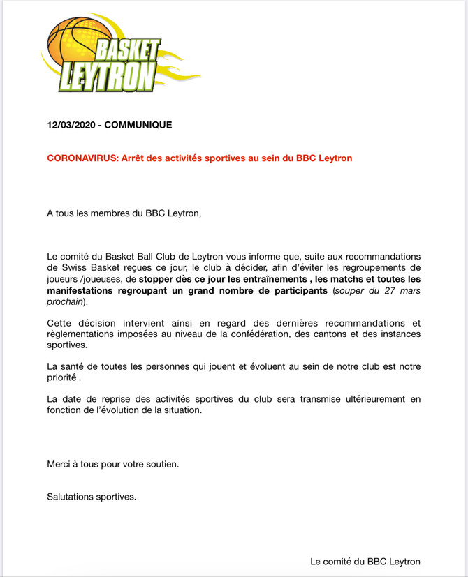 Informations importantes...