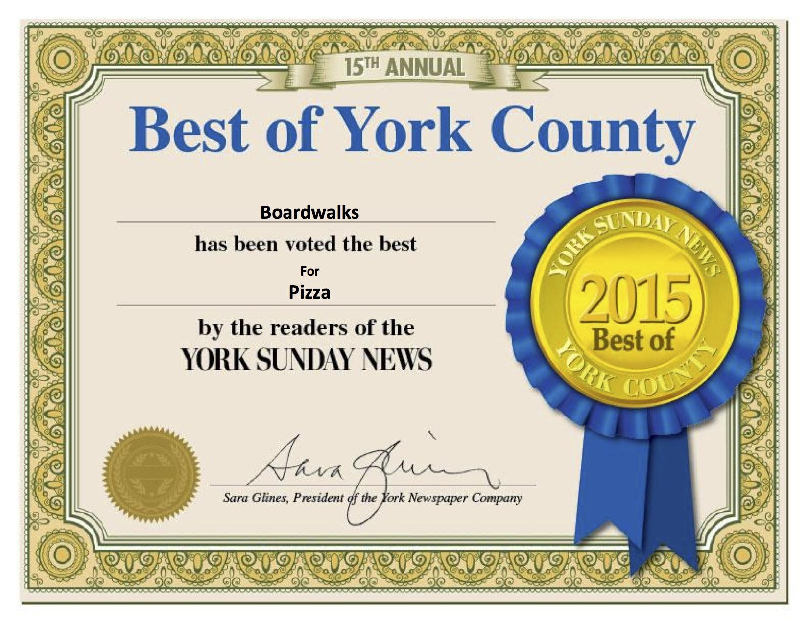 Certificate Pizza 2015