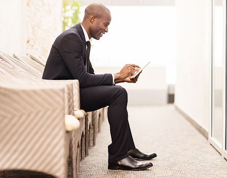 Confident businessman waiting for an interview