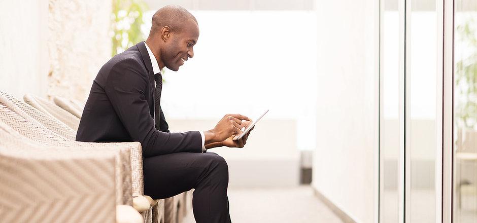 Confident businessman waiting for an interview
