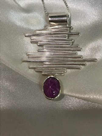 Pink Star Sapphire Linear Necklace