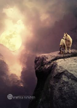 Dos amigos observando la luna.