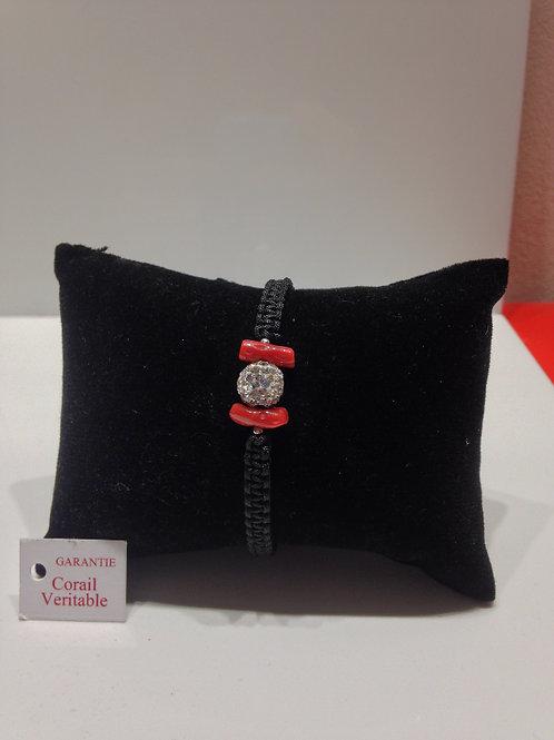 Bracelet  rigide corail et boulle de strass