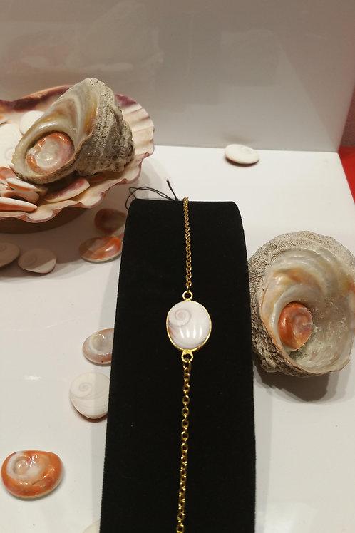 Bracelet doré Oeil de Sainte Lucie ovale