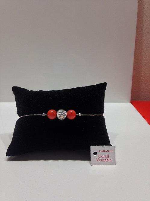 Bracelet perles de corail et strass