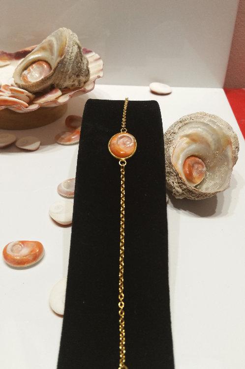 Bracelet plaqué or Oeil de Sainte Lucie