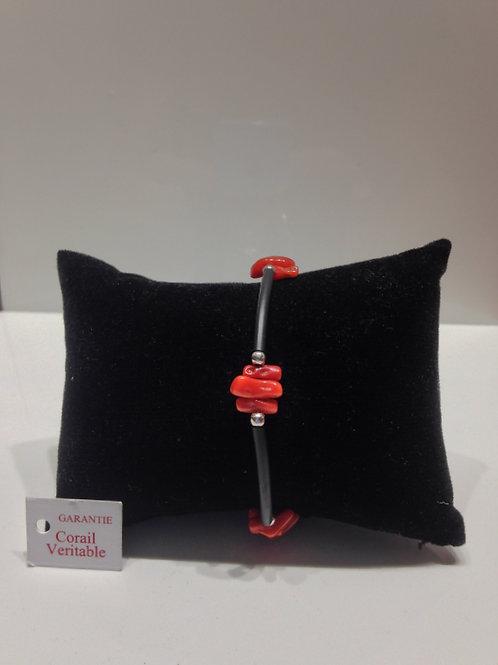 Bracelet  moderne corail et caoutchouc
