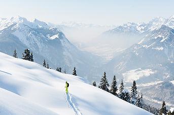 Du ski et du ski sur la poarfaite neige d'autriche