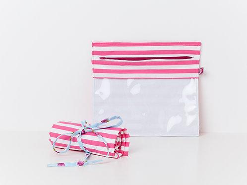 Bolsa Transparente Riscas Rosa Forte & Branco