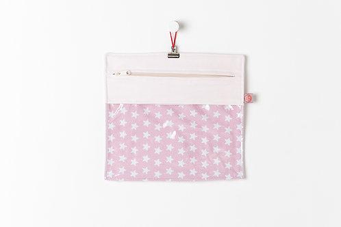 Bolsa Transparente Estrelas Rosa
